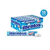 Mentos Chewy Mint Candy Roll, Mint, Stocking Stuffer, Gift, Holiday, Christmas, Party, 1.32 Ounce/14 Pieces (Pack of 15) - Packaging May Vary