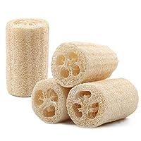 * 天然丝瓜海绵 4 件套,高级*丝瓜,适用于沐浴海绵和去角质皮肤,不刮伤厨房擦海绵,适用于厨房、浴室等等