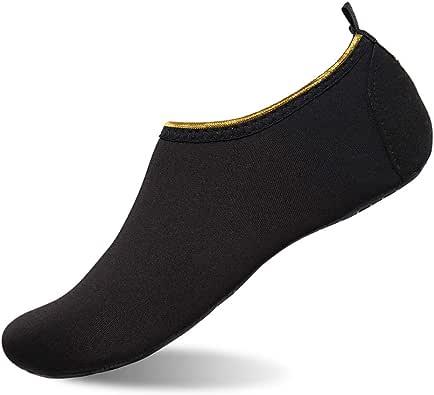 女式和男式水鞋赤脚速干浅绿色短袜适用于海滩游泳冲浪瑜伽 Gold Edge/Black XXXL (Men:12-13)
