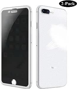 GAHOGA 兼容 iPhone 6 Plus 6S Plus 7 Plus 8 Plus 隐私屏保全覆盖钢化玻璃[正面和碳纤维背面] 防间谍防刮 iPhone 6 Plus 7 Plus 8Plus