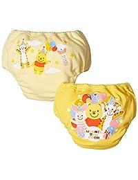 【Amazon.co.jp限定】DISNEY 2条装4层背带式运动裤 A3CA1 [対象] 6ヶ月 ~ 48ヶ月 黄色 90