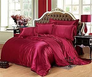 Lotus Karen 华丽缎面床上用品套装超柔轻质丝滑纯色床上用品包括 1 件床笠 2 个枕套(黑色,单人床) *红色 Twin Size Sab005F-Burgundy-Twin