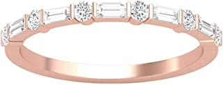 0.43 克拉长方形圆形 SGL 认证钻石周年纪念戒指,复古新娘婚礼配套戒指套装,酒吧套装,适合母亲节,14K 玫瑰金,尺码:美码 5.5