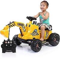 儿童电动车 玩具车 挖土机可坐可骑 挖掘机 儿童音乐玩具车脚踏四轮工程车5818 (黄色)