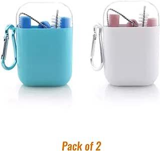 硅胶吸管弹性可重复使用折叠便携式 XL 号适合 30 盎司玻璃杯 Yeti 包括清洁刷和便携包旅行颜色蓝色 * 灰色 粉色 黄色 紫色 2 4 6 件装 粉色/蓝色 XL