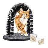 Relaxdays 除毛拱形刷 包括 2 个猫薄荷 毛皮护理拱形刷 猫咪*刷 适用于所有毛发长度 黑色
