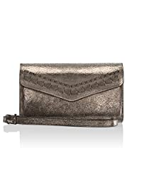 Rebecca Minkoff Wristlet, Whipstitch Tech Wristlet Case, Designer Wristlet fits Apple iPhone 7 - Cracked Leather Anthracite