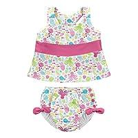 I PLAY 幼儿女童2件蝴蝶结连体泳衣套装带按扣可重复使用游泳尿布