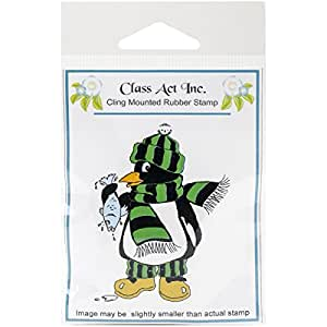 Class Act Cling Mounted Rubber Stamp, 2.75 by 3.75-Inch, Fishing Penguin