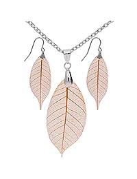 真叶树脂耳环和项链套装 - 橙色