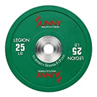 Sunny Health & Fitness 保险杠板,耐用的橡胶加重板带镀铬衬垫,适用于 5.08cm 奥运会和杠铃 - 力量训练,举重和交叉,单支
