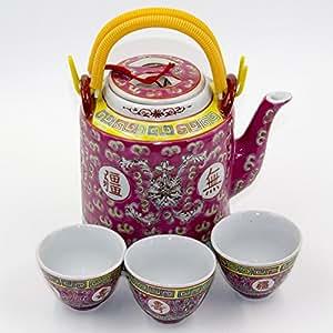 uname 手绘陶瓷水壶茶壶复古水水壶中国风格瓶装。 1,601.7gram 黄色 / 红色 红色