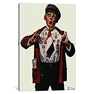 """iCanvasART Boy Showing Off Badges Canvas Print by Norman Rockwell, 18 by 12""""/0.75"""" Deep"""