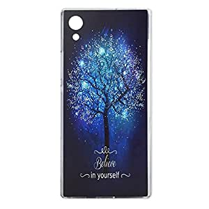 索尼 Xperia XA1 手机壳,水晶透明手机壳设计紫色玫瑰花图案印花防撞保护套索尼 Xperia XA1 保护套硅胶 TPU 女童花罩XA1 相信自己