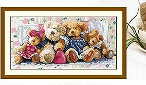 DIY 十字绣,Kisstaker 71x40cm 上衣 DIY 针织 熊家庭精密印刷客厅卧室家居装饰十字绣刺绣套件艺术、工艺品和缝纫十字绣(C)