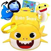 Q&M Novelties 婴儿鲨鱼背包和婴儿鲨鱼玩具礼品套装,儿童可爱毛绒幼儿背包,婴儿鲨鱼贴纸,迷你拼图,手链:女孩和男孩 年龄 2、3、4、5、6 岁