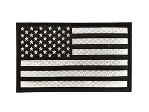 SUVIYA 3x5 大反光黑色美国美国阿姆里加国旗补丁战术背心贴(12.7 cm 宽 x 7.62 cm 高)(黑色) 黑色 白色 LAOPO003