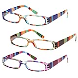 GAMMA RAY READERS 3 Pairs A Ladies' Readers Quality Spring Hinge Reading Glasses for Women 1.25x 3.00