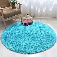 圆形地毯可爱少女公主粉瑜伽垫卧室吊篮藤椅电脑椅梳妆台落地镜垫长绒直径140厘米(送心形垫) 天蓝色