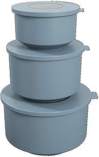 Coza- 环形系列 - 防漏食品容器带密封盖3件套(共6件)- 不含 BPA,可放入微波炉 Blue Fog 99262/1477