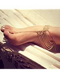 Aukmla 波西米亚脚链手链金色脚踝手链脚链沙滩脚链女士和女孩脚链-012