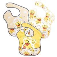 Bumkins Disney围嘴,婴儿围嘴,防水,可水洗,防污防臭,6-24个月,3件装 - 小熊维尼