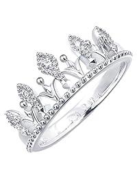 周生生 18K白色黄金V&A系列完美桂冠钻石戒指 15号圈 87042r(亚马逊自营商品, 由供应商配送)