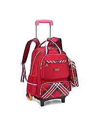 七星狐小学生拉杆书包男女3-6年级儿童双肩包护脊安全夜光英伦减负拉杆书包两轮三轮送笔袋9372