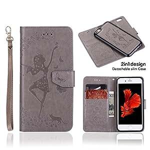 Taoya iPhone 6 plus,6s plus 钱包式保护套,高级 PU 皮套,磁性可拆卸纤薄外壳,适用于 4.7 英寸 iPhone 6、6s 灰色