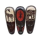 All Seas Imports 华丽独特手工雕刻大象、长颈鹿、壁虎 3 件套木质非洲风格墙壁装饰,设计精美!