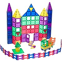 Playmags 150 件套装:**牢固的磁贴,结实耐用,颜色鲜艳。 18 件点击配件,提升您的创造力