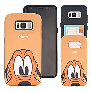 Galaxy Note9 Case DISNEY Cute Slim Slider Cover : Card Slot Shock Absorption Shockproof Dual Layer Protective Holder Heavy Duty Bumper for [ Samsung Galaxy Note9 ] Case - Look Pluto