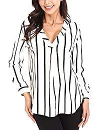 MANDEKU Women's Sexy Long Sleeve Striped Shirts Loose Pullover Casual Top Blouse T-Shirt V Neck