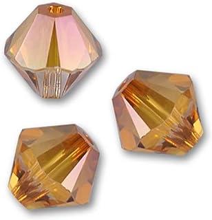 100 颗正品 4 毫米施华洛世奇水晶 5328 Xillion 双锥体水晶珠用于珠宝制作(水晶铜)SWA-b457