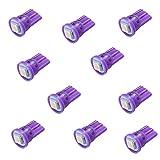 PA 10 件 #555 T10 1SMD LED 楔形针球机灯顶视灯泡 -6.3V #555 T10 921 紫色