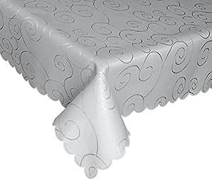 EcoSol Designs 超细纤维锦缎旋涡桌布,无皱抗污 Grey/Silver Swirls 60x102 ED01