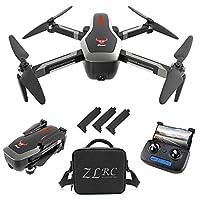 GoolRC SG906 GPS 遥控无人机带 4K 高清前置摄像头和 720P 下置摄像头,5G WiFi FPV 可折叠无刷无人机,光流定位高度固定 RC 四轴飞行器,带手提包和 3 电池 黑色