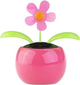 Tinksky Dacing 太阳能花朵汽车装饰太阳能快乐跳舞花盆办公桌展示(粉色)