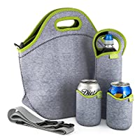 Tabkoe™ Neoprene Lunch Bag Set: Extra Big & Thick Insulated Tote + Shoulder Strap + Bottle Cooler + 2 Can Coolers - Washable - Reusable LunchBoxes To Work or School Gray Green