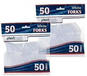 塑料餐具重型白色塑料叉子 50 个叉子套装 白色 PCF2450W