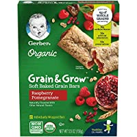 Gerber Up Age Organic Grain & Grow Soft Baked Grain Bars Raspberry Pomegranate, 8Count