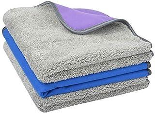 SUNLAND 超细纤维汽车干燥毛巾,汽车清洁布,两面有两面,多功能布用于除尘、擦洗、抛光 16inchx16inch ncshrsmr4040greybluepurplex3