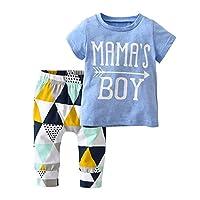 derouetkia 婴儿男孩夏季 MAMA ' s 男孩短袖 t 恤上衣几何裤服装套装