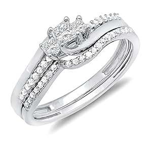 0.48 Carat (ctw) 10K White Gold White Diamond 3 Stone Ladies Engagement Ring Set 1/2 CT (Size 7)