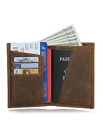 Texbo RFID 屏蔽全粒面牛皮护照夹旅行钱包
