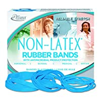 "Alliance Rubber 42199#19 Non-Latex Antimicrobial Rubber Bands, 1/4 lb box contains approx. 360 bands (3 1/2"" x 1/16"", Cyan Blue)"