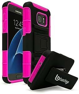 Galaxy S7 手机壳,Bastex 重型混合橡胶硅胶手机壳带保护支架皮套皮带夹适用于三星 Galaxy S7F: A 127 S7 Pink/Blk Holster + Cloth ALE 粉红色