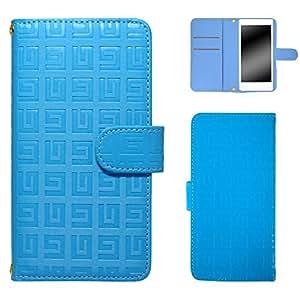 白色坚果回纹图案手机保护壳翻盖式 蓝色 2_ Xperia XZ 601SO Sony