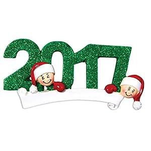 Grantwood 技术个性化圣诞装饰家庭系列 -2016 FACE 家族 红色 Family of 2 DO-IT-YOURSELF Kit POLARXK-OR1103-2