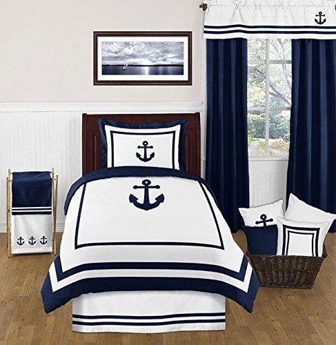 Sweet Jojo Designs *アンカー航海寝具セットのための青と白のシングルベッドベッドスカート